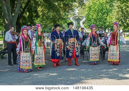 Dnepropetrovsk Ukraine - August 23 2015: Performances of folk artists on feast day of the state flag of Ukraine