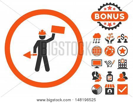 Builder With Shovel icon with bonus pictures. Vector illustration style is flat iconic bicolor symbols, orange and gray colors, white background.