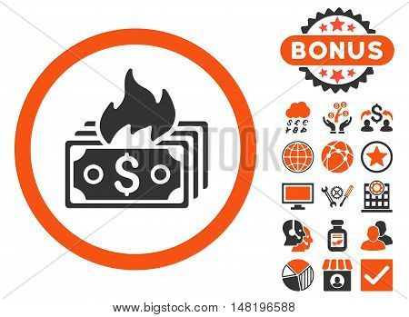 Burn Banknotes icon with bonus pictogram. Vector illustration style is flat iconic bicolor symbols, orange and gray colors, white background.