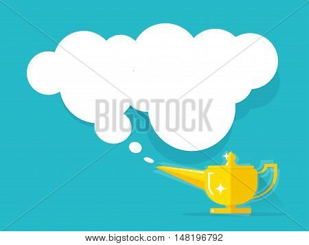 Aladdin lamp with Jean cloud vector illustration isolated on colorful background, old golden Genie magic lamp with wish smoke flat cartoon style