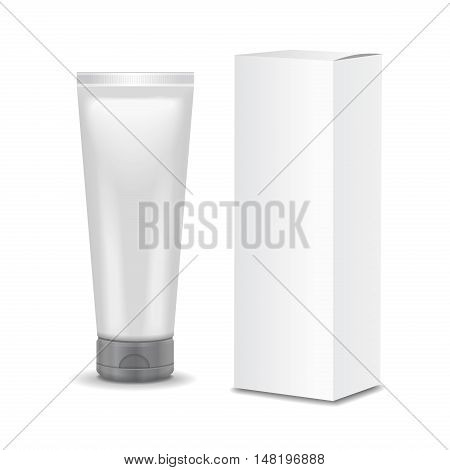 Realistic tubes and package. Packing white cosmetics or medicines Isolated 3D illustration on white background.