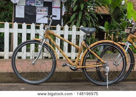 Bamboo bikes, bicycle parts are made of bamboo.