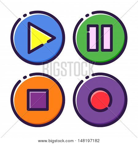 Vector stock of multi media player interface flat icon