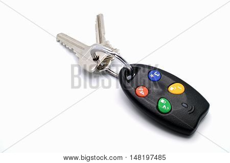 Used remote control house or car keys chain for activate security alarm.