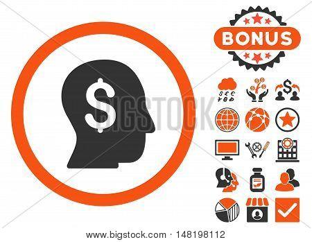 Businessman icon with bonus elements. Vector illustration style is flat iconic bicolor symbols, orange and gray colors, white background.