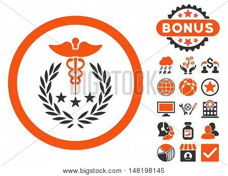 Caduceus Logo icon with bonus design elements. Vector illustration style is flat iconic bicolor symbols, orange and gray colors, white background.