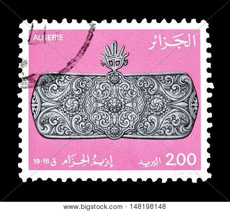 ALGERIA - CIRCA 1983 : Cancelled postage stamp printed by Algeria, that shows Brooch.