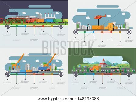 Transportation and delivery concept. Set of the infographic templates. Flat vector illustration.