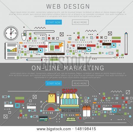 Flat design banners. Web design and on-line marketing. Vector illustration.