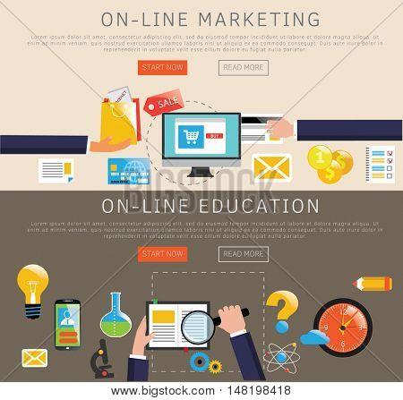 Flat design banners. Web education and internet marketing concept. Vetor illustration.