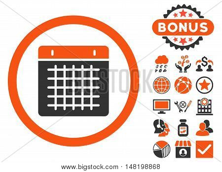 Calendar icon with bonus images. Vector illustration style is flat iconic bicolor symbols, orange and gray colors, white background.