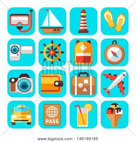 Travel tourism and vacation vector flat icons. Holiday relax, swim to sailboat and diving illustration