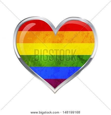 Heart shaped glossy icon with metallic border of LGBT flag isolated on white