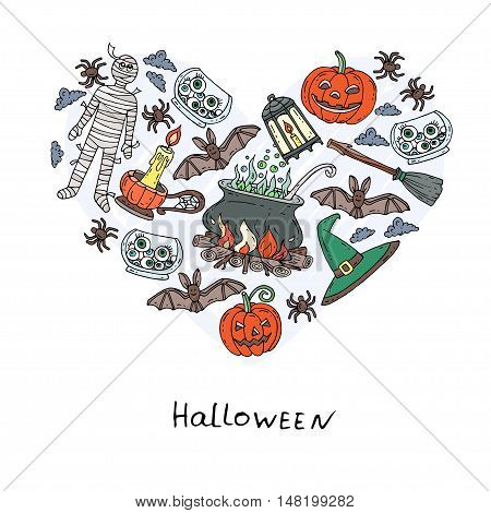 Stylized heart with hand drawn symbols of Halloween - pumpkin candle mummy cauldron broom spider. Vector for use in design