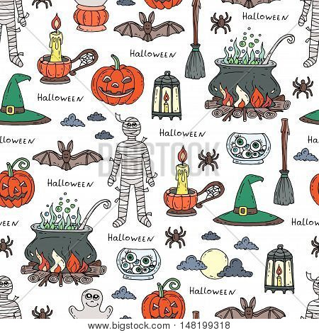 Vector seamless hand drawn pattern on the theme of Halloween. Pattern with isolated Halloween symbols - pumpkin candle mummy cauldron broom spider. Background for use in design, web site, packing, textile, fabric