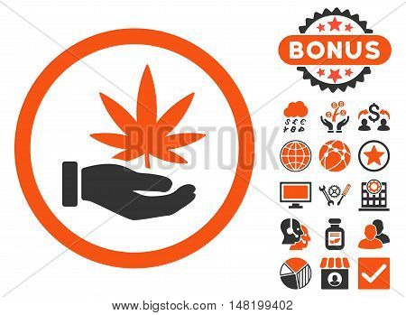 Cannabis Offer Hand icon with bonus pictures. Vector illustration style is flat iconic bicolor symbols, orange and gray colors, white background.