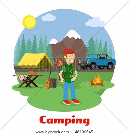 Camping and outdoor recreation concept. Man with backpack in mountain scenery. Forest camp with a tent with a jeep. Vector illustration.