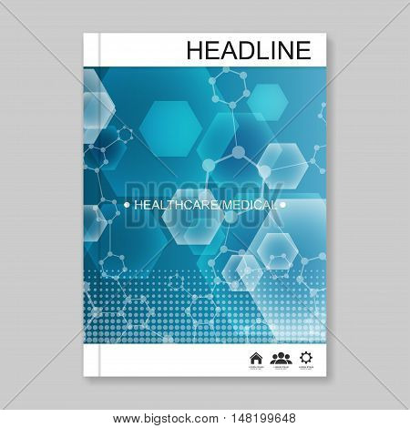 Science vector background. Modern vector templates for brochure, flyer, cover magazine or report in A4 size. Molecule structure and communication on the blue background..