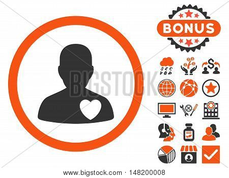 Cardiology Patient icon with bonus symbols. Vector illustration style is flat iconic bicolor symbols, orange and gray colors, white background.