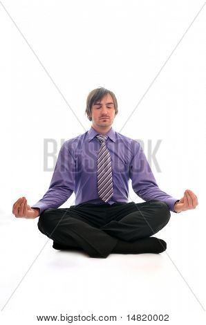 one yong business man relaxing yoga sit in lotus position