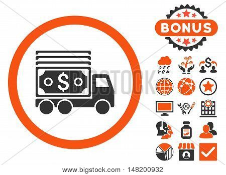 Cash Lorry icon with bonus elements. Vector illustration style is flat iconic bicolor symbols, orange and gray colors, white background.