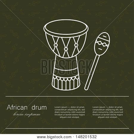 Vector logo African drum for religion and ceremonies. The symbol of African music and culture.