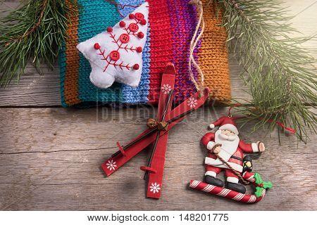 Christmas tree decoration santa wooden texture background woolen warm wear new year