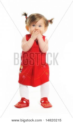 one happy  baby child isolated on white background