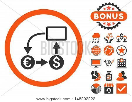 Cashflow Euro Exchange icon with bonus elements. Vector illustration style is flat iconic bicolor symbols, orange and gray colors, white background.