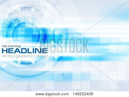 Blue hi-tech background with glowing stripes and HUD gears design. Vector illustration