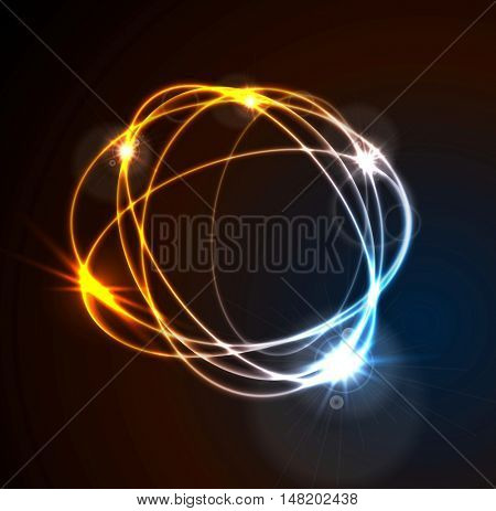Glow flash neon round shape shiny template design. Vector background illustration