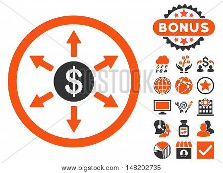 Cashout icon with bonus design elements. Vector illustration style is flat iconic bicolor symbols, orange and gray colors, white background.
