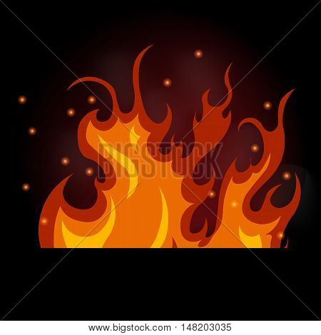 vector illustration of burning fire on a black background, flames and smoke