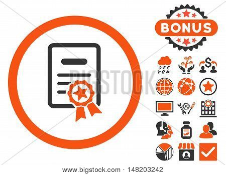 Certified Diploma icon with bonus elements. Vector illustration style is flat iconic bicolor symbols, orange and gray colors, white background.
