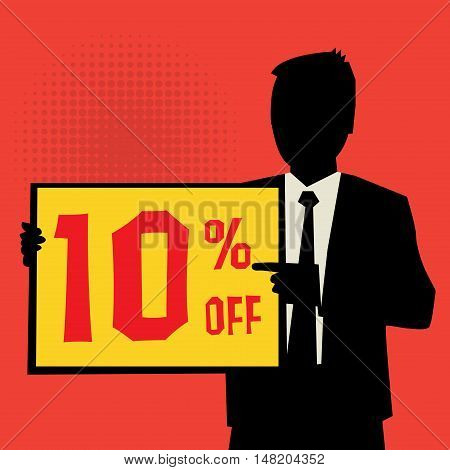 Man showing board business concept with text 10 percent off vector illustration