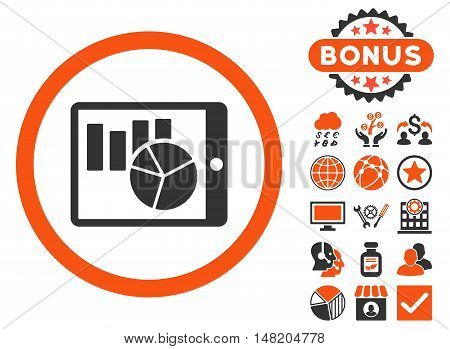 Charts on Pda icon with bonus design elements. Vector illustration style is flat iconic bicolor symbols, orange and gray colors, white background.