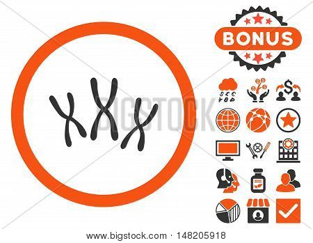 Chromosomes icon with bonus symbols. Vector illustration style is flat iconic bicolor symbols, orange and gray colors, white background.