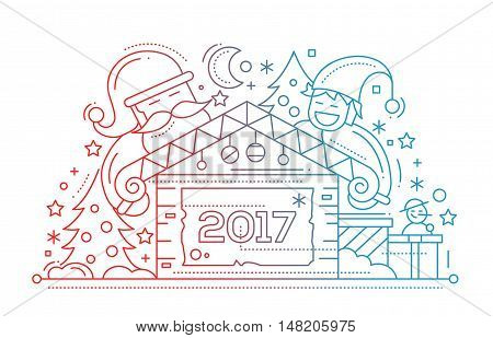 Merry Christmas and Happy New Year 2017 plain line design card with holidays symbols - Santa Claus, elf, house, snowman