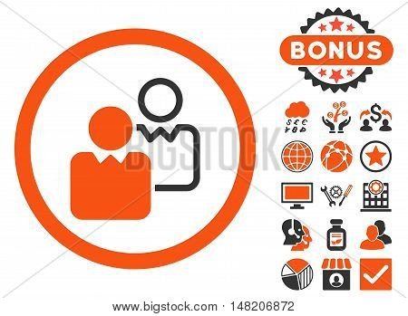 Clients icon with bonus pictogram. Vector illustration style is flat iconic bicolor symbols, orange and gray colors, white background.