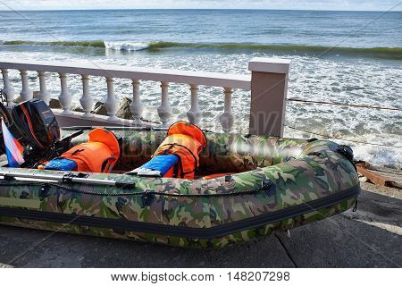 The inflatable rescue boat on the beach