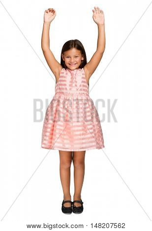 Happy laughing girl portrait isolated