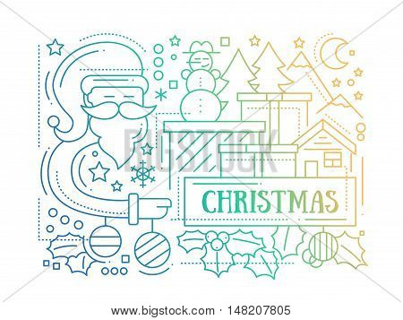 Merry Christmas simple line design card with holidays symbols - Santa Claus, Christmas tree, house, mistletoe