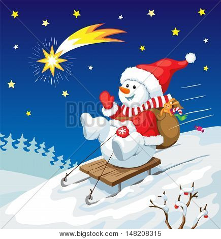 Vector Christmas illustration. Snowman on sled with christmas gifts and star in the sky. New year card concept.