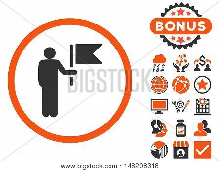 Commander icon with bonus pictures. Vector illustration style is flat iconic bicolor symbols, orange and gray colors, white background.