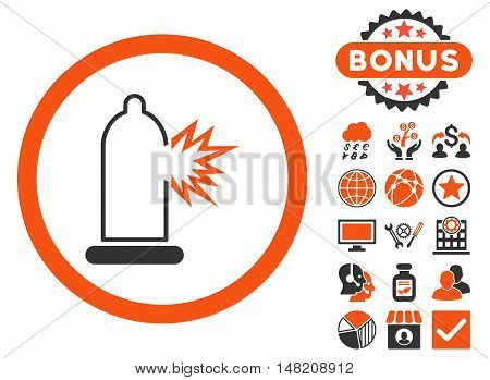 Condom Damage icon with bonus pictures. Vector illustration style is flat iconic bicolor symbols, orange and gray colors, white background.