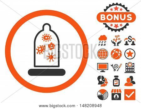 Condom Microbes icon with bonus elements. Vector illustration style is flat iconic bicolor symbols, orange and gray colors, white background.
