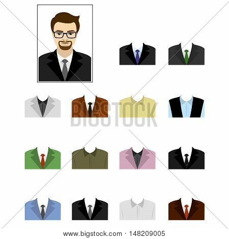 Set templates business suits cartoon vector illustration