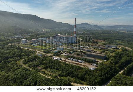 Thermal power plant in the city of Petropavlovsk-Kamchatsky near Avacha Bay. View from the helicopter.