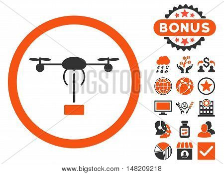 Copter Shipment icon with bonus images. Vector illustration style is flat iconic bicolor symbols, orange and gray colors, white background.