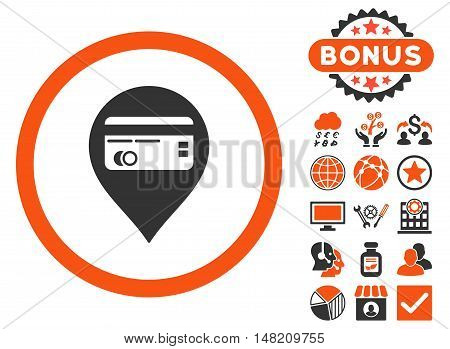 Credit Card Pointer icon with bonus pictogram. Vector illustration style is flat iconic bicolor symbols, orange and gray colors, white background.